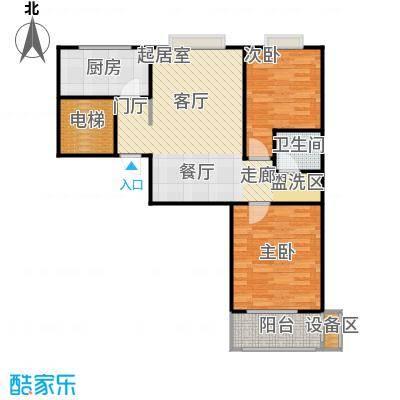 河畔中央公馆B户型二室二厅一卫94.3平米户型