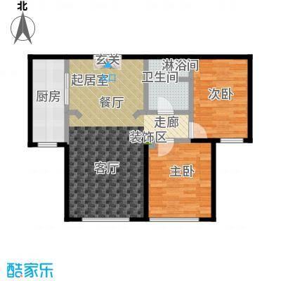 恒昌卢浮公馆户型2室1卫1厨