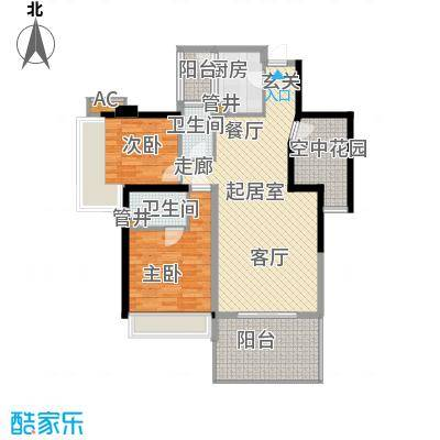 时代东安三室两厅双卫户型