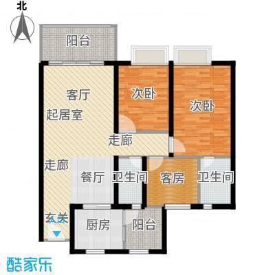 嘉逸园113.96㎡2栋2单元113平米三房二厅二卫户型3室2厅2卫