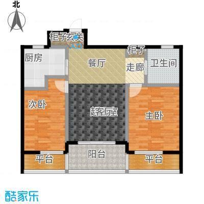 新湖保亿御景国际89.19㎡A3户型 2室2厅1卫户型2室2厅1卫