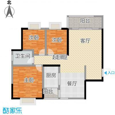 新世界曦岸106.00㎡Q户型3房2厅1卫户型3室2厅1卫