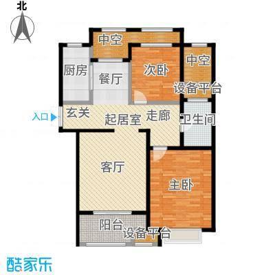 融信新新家园108.00㎡B户型 二室二厅一卫户型2室2厅1卫