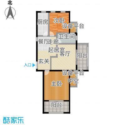 融信新新家园107.00㎡A户型 二室二厅一卫户型2室2厅1卫