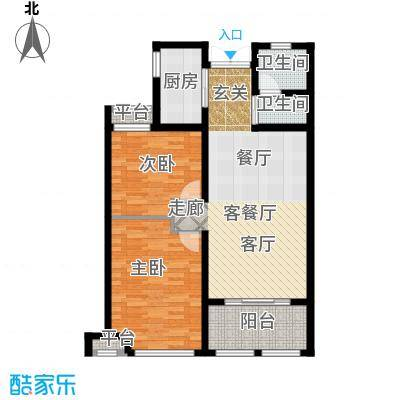 正德广场户型2室1厅2卫1厨