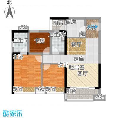 珠江观澜御景1、2号楼B户型平面布置图户型3室2厅2卫