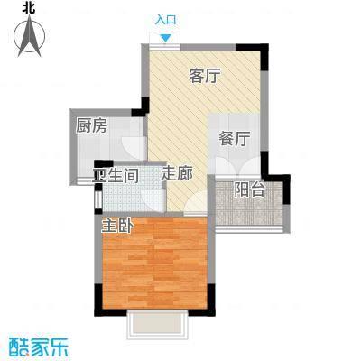 东方威尼斯A7栋A户型 49.16㎡户型1室2厅1卫