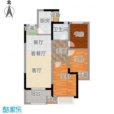 无锡万达文化旅游城102.00㎡B2户型 三室两厅一卫户型3室2厅1卫