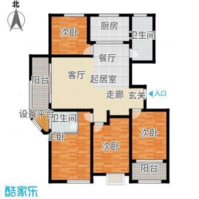 三庆城市主人186.00㎡E1户型四室两厅两卫户型4室2厅2卫