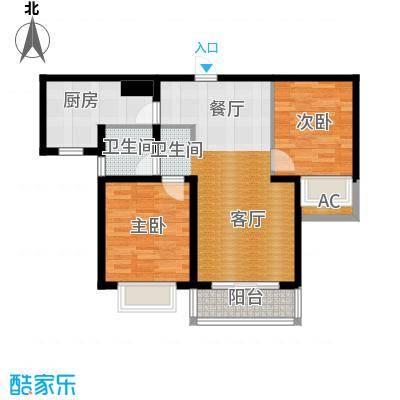 翡翠家园84.03㎡A户型 2室2厅1卫户型2室2厅1卫