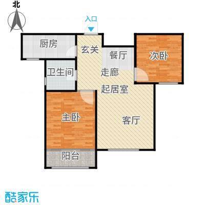 滨河湾92.40㎡F户型2室2厅1卫 92.40㎡户型2室2厅1卫