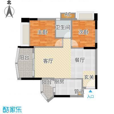 尚湖轩78.00㎡6栋04单位户型图户型2室2厅1卫