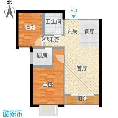 外滩森林86.48㎡2#C户型 两室两厅一卫户型2室2厅1卫