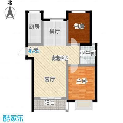 外滩森林2#A户型 两室两厅一卫户型2室2厅1卫