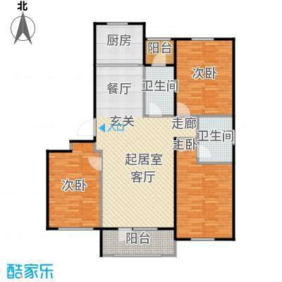 澳海澜苑113.00㎡E2-三室两厅两卫 113平米户型3室2厅2卫