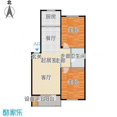 澳海澜苑87.00㎡D1-两室两厅一卫87平米户型2室2厅1卫