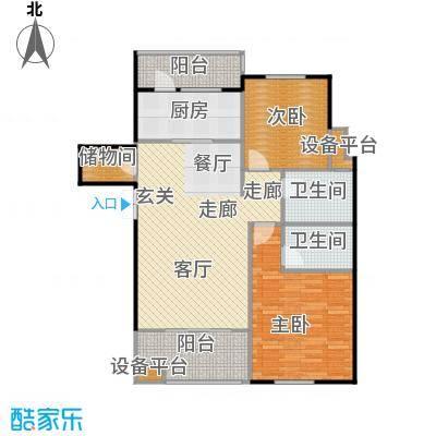邦泰中央花城102.00㎡J1a户型 2室2厅2卫1厨户型2室2厅2卫