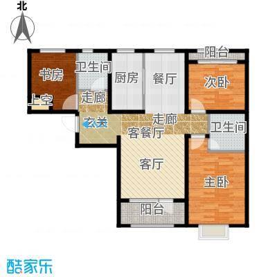 石家庄兰亭121.91㎡C5 三室两厅两卫户型3室2厅2卫