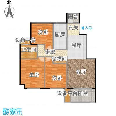 邦泰中央花城122.00㎡E户型 3室2厅1卫1厨户型3室2厅1卫