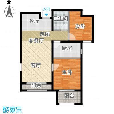 """石家庄兰亭89.00㎡C6""""户型 两室两厅一卫户型2室2厅1卫"""