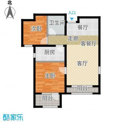 石家庄兰亭89.00㎡C6户型 两室两厅一卫户型2室2厅1卫