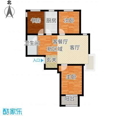 石家庄兰亭105.00㎡C1户型 三室两厅一卫户型3室2厅1卫