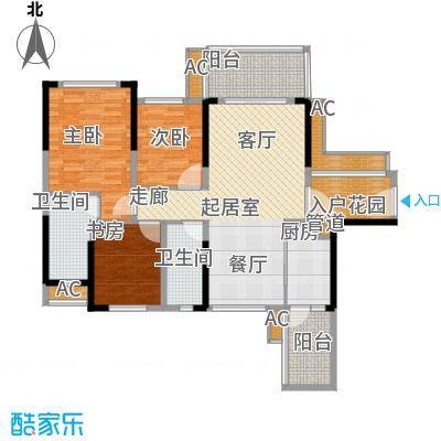 建大领秀城98.00㎡3栋01单元/4栋02户型图户型3室2厅2卫