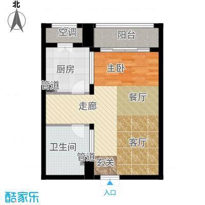 一中官邸65.62㎡k户型 一室两厅一卫户型1室2厅1卫