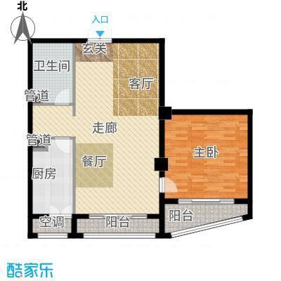 一中官邸95.83㎡f户型 一室一厅一卫户型
