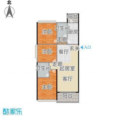 恒大中心112.00㎡1、6#楼标准层112平户型3室2厅2卫