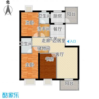 澜庭129.76㎡D户型 三室两厅两卫户型3室2厅2卫