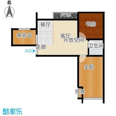 水晶东座86.11㎡C2户型 两室两厅一卫户型2室2厅1卫