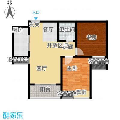 水晶东座86.90㎡B1户型 两室两厅一卫户型2室2厅1卫