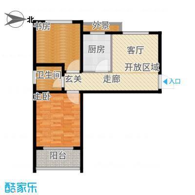 水晶东座71.46㎡A2户型 两室一厅一卫户型2室1厅1卫