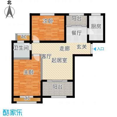 鲁邦・奥林逸城93.00㎡G户型两室两厅一卫户型2室2厅1卫