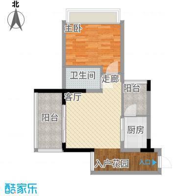 东方威尼斯A8栋三单元61平一房1室1厅1卫1厨 61.05㎡户型1室1厅1卫