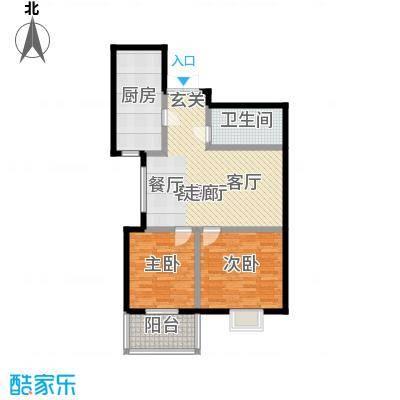 滨河城―左岸87.15㎡两室两厅一卫户型2室2厅1卫
