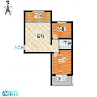 藏龙镇70.34㎡两居B1户型2室2厅1卫