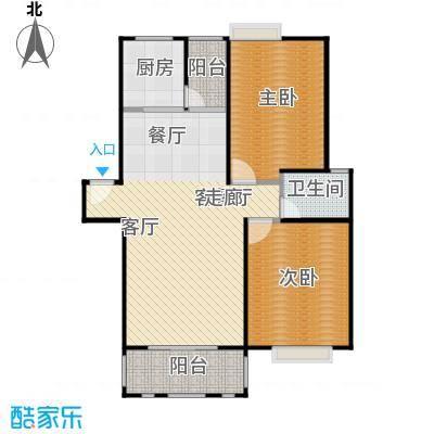 浔城湖锦88.08㎡A2户型 2居室 88.08平米户型2室2厅1卫