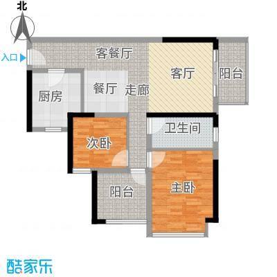 坪山招商花园城88.60㎡户型2室1厅1卫1厨
