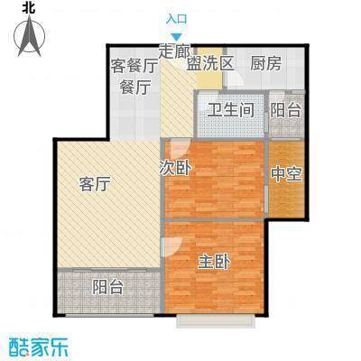 浔城湖锦86.11㎡GA3户型 2居室 86.11平米户型2室2厅1卫