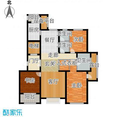 新源燕府186.81㎡c1户型 三室两厅两卫户型