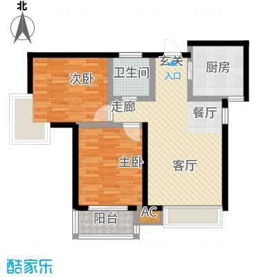 御龙湾92.00㎡4号楼F户型2室2厅1卫