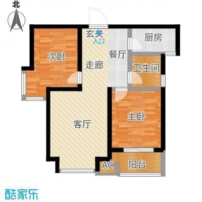 御龙湾86.00㎡5号楼K户型2室2厅2卫