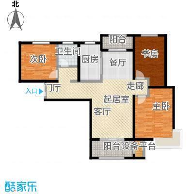 中铁・逸都国际110.00㎡B户型-三室两厅一卫户型3室2厅1卫