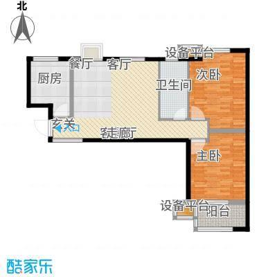 明湖・白鹭郡93.00㎡12号楼逸轩两室 两室两厅一卫户型2室2厅1卫