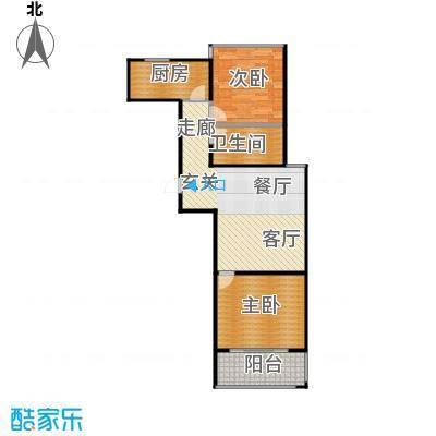 山海嘉园1号楼户型2室1卫1厨