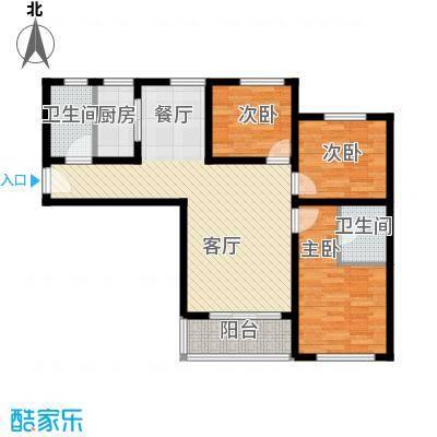 新世家小区114.44㎡澜庭J户型2室2厅2卫