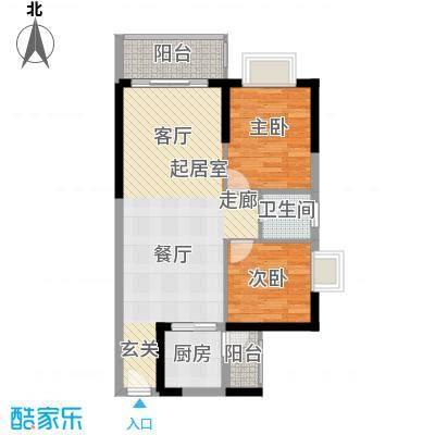 香海湾77.00㎡1栋02户型2室2厅1卫户型2室2厅1卫