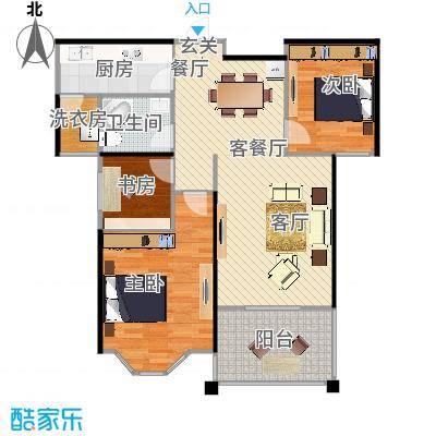 航宇香格里拉户型3室1厅1卫1厨